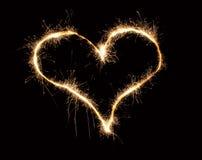 Sparkler do coração Fotos de Stock