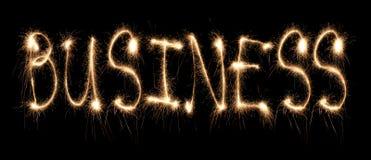 Sparkler escrito negócio da palavra Fotografia de Stock Royalty Free