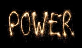 Sparkler escrito potência da palavra Imagens de Stock