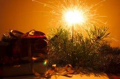 sparkler för gåvor för bengal julcloseup Arkivfoto