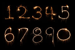 Sparkler firework light Number alphabet Stock Image