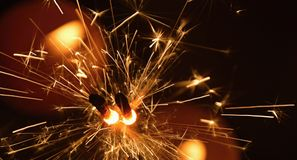 Sparkler fireworks. Sparkler is a symbol of Christmas and New Year Stock Photo
