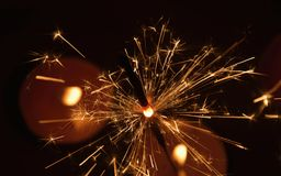 Sparkler fireworks. Sparkler is a symbol of Christmas and New Year Stock Photos