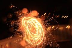Sparkler forming circles royalty free stock photos