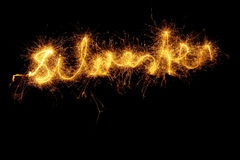 Sparkler forming word Royalty Free Stock Photos