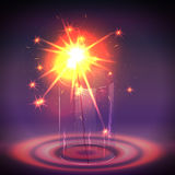 Sparkler in the glass. Vector illustration Royalty Free Stock Photos