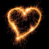 Sparkler heart. Sparkler heat heart. Good design element for wedding, Saint Valentine card, etc. Very big size Stock Photography