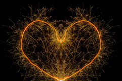 Sparkler heart shape Royalty Free Stock Images