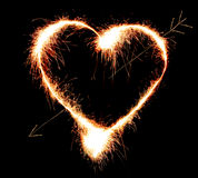 Sparkler heat heart. Royalty Free Stock Photography