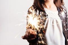 Sparkler In Little Girl Hand Stock Images