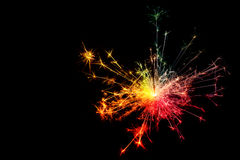 sparkler Jul och newyear partitomtebloss på Royaltyfri Fotografi