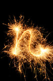 Sparkler letter of English alphabet Stock Image