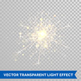 Sparkler light. Firework magic glitter effect. Vector magic sparkling star glittering shine. Shiny Christmas decoration design Stock Photography