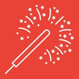 Sparkler line icon, New year and Christmas. Xmas sign vector graphics, a linear pattern on a red background, eps 10 Royalty Free Stock Photo