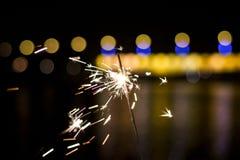 sparkler Luces de la Navidad y del Año Nuevo Imagenes de archivo