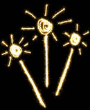 Sparkler made of sparkling. Isolated on a black background royalty free illustration