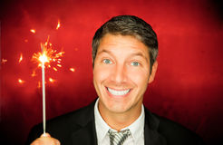 Sparkler man Royalty Free Stock Photos