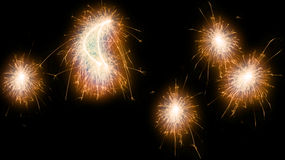 Sparkler moon and stars. Sparkler lightpainting of moon and stars Royalty Free Stock Photo