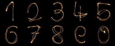 Sparkler Numbers Royalty Free Stock Photos
