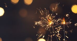 Free Sparkler Or Bengal Fire On Black Night Lighting Background, Christmas And New Year Party Celebration Royalty Free Stock Photography - 196247437
