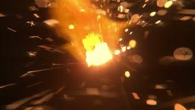Sparkler palenie odizolowywający od wierzchołka zgłębiać w makro- strzale zdjęcie wideo