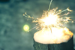 Sparkler in the snow in the evening Royalty Free Stock Image