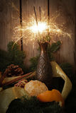 Sparkler with tangerines and pomegranate on a background of tree. S royalty free stock photography