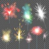 Sparkler vector sparkling celebration of christmas new year party sparklets illustration set of sparkled firework spark stock illustration