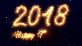 Sparkler video animation of the numbers 2018 - happy new year stock illustration