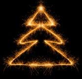 Sparkler-Weihnachtsbaum Lizenzfreies Stockfoto