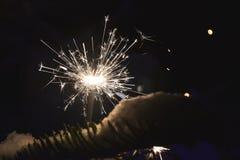 Sparkler. White light in the christmas time Stock Images