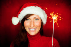 Sparkler woman Royalty Free Stock Photos