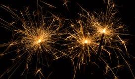Sparklers στο Μαύρο Στοκ φωτογραφίες με δικαίωμα ελεύθερης χρήσης