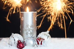 sparklers рождества свечки предпосылки Стоковое Фото