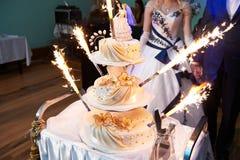 sparklers торта wedding Стоковые Фото