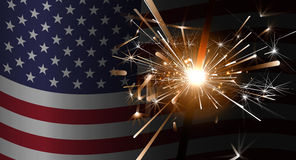 Sparklers on a background of the American flag. Dark theme celebratory backdrop for your design. USA vector background. Fireworks background for 4th of July Stock Photos