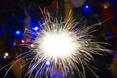 Sparklers on background of Christmas tree Royalty Free Stock Photos
