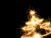Sparklers Christmas tree Royalty Free Stock Photo