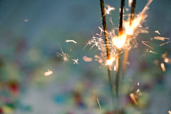 Sparklers with Confetti Royalty Free Stock Images