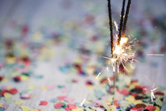 Sparklers with Confetti Stock Photo