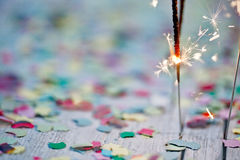 Sparklers with Confetti Royalty Free Stock Photos