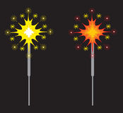 Sparklers or Fireworks. This is a  illustration of two festive Sparklers, also called Fireworks Royalty Free Stock Images