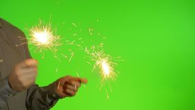 Sparklers on the Green Screen stock video