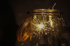 Sparklers in jar Royalty Free Stock Images