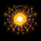 Sparkles. Orange and yellow burning sparkles over black background Royalty Free Stock Photography