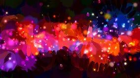 Sparkles alaranjados em cursos pretos da escova do fundo Versão do vetor Foto de Stock