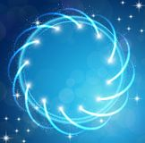 Sparkles blue background with stars round frame Royalty Free Stock Photos