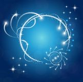 Sparkles blue background with stars round frame Royalty Free Stock Images