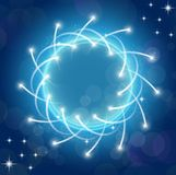 Sparkles blue background with stars round frame Stock Photo