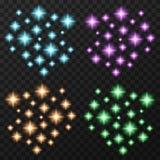 Sparkles coloridos ajustados Imagens de Stock Royalty Free